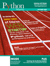 Cover of October 2009 Python Magazine
