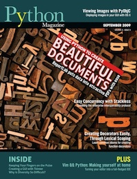 Cover of September 2009 Python Magazine