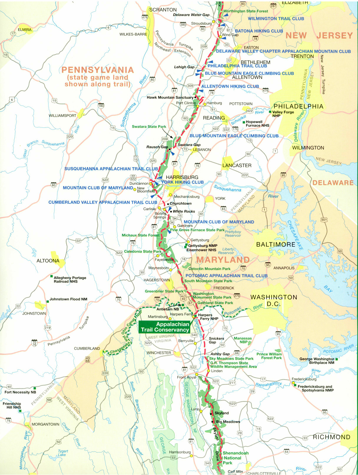 Appalachian Trail New England Map.Official Appalachian Trail Maps