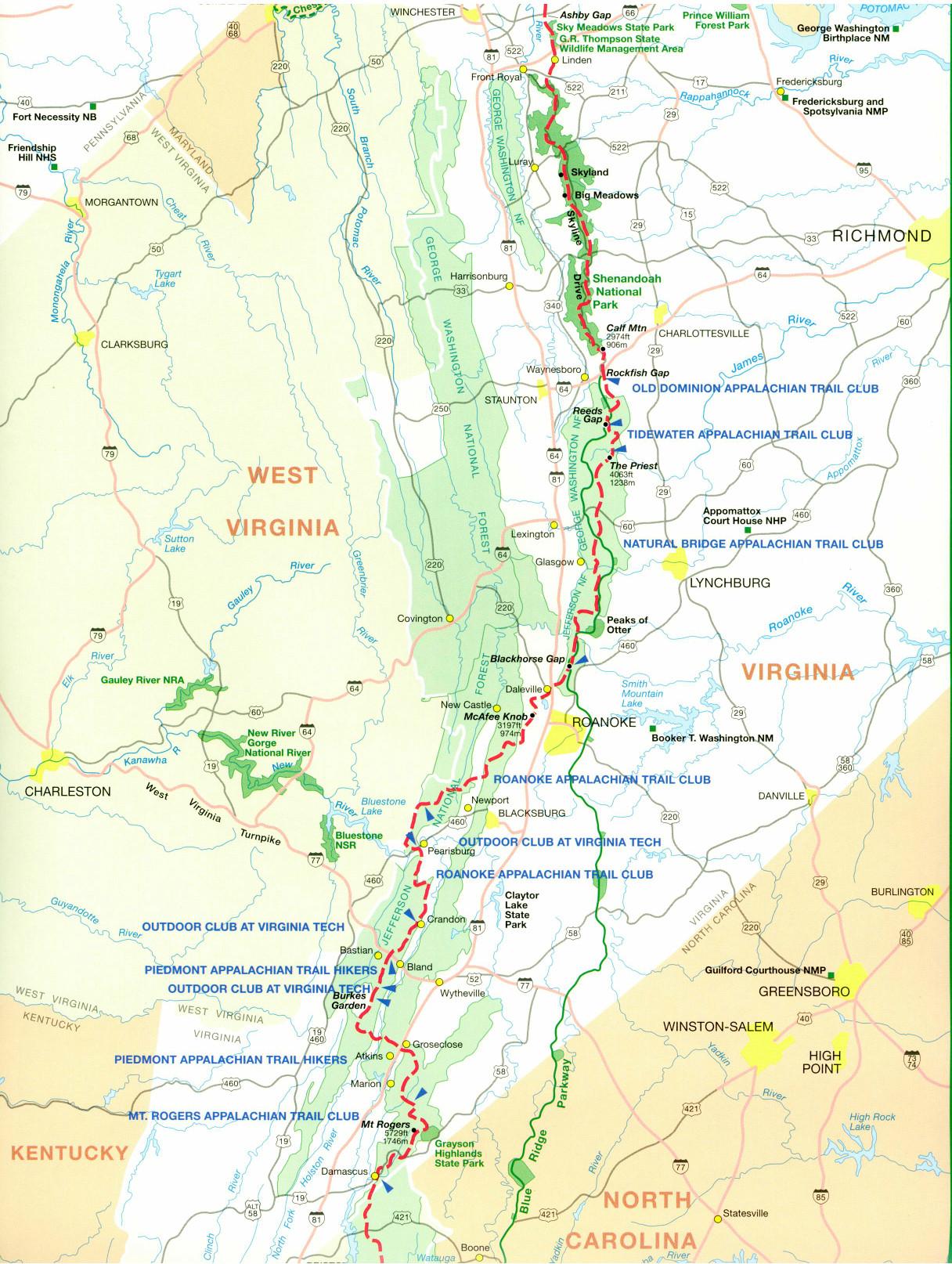 Gallery For Gt Appalachian Trail Map