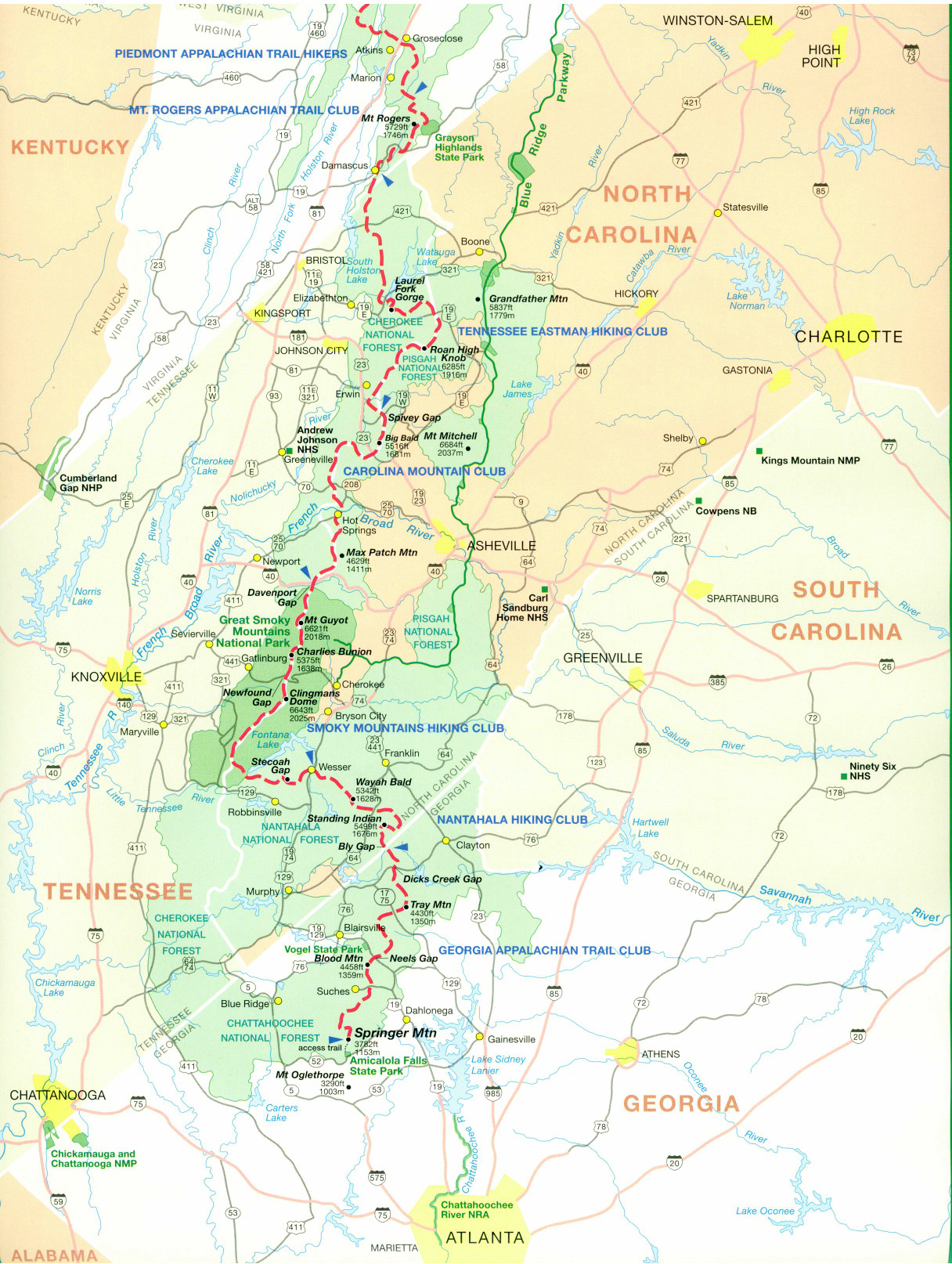 Official Appalachian Trail Maps - Appalachian trail new hampshire map